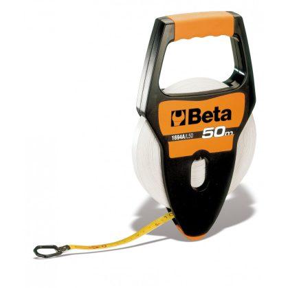 Beta 1694A/L Fogantyús mérőszalag, ütésálló ABS-ház, PVC borítású üvegszál szalag, Pontossági osztály: III