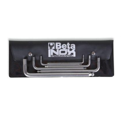 Beta 96BPINOX/B6 6 darabos hatlapfejű hajlított belső kulcs gömbös szélekkel, rozsdamentes acélból, tasakban
