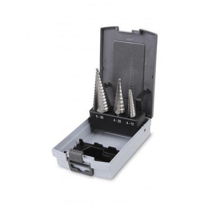 Beta 425E/SP3 3 darabos kúpos lépcsős lemezfúró szerszám készlet HSS acél hatékonyabb élezéssel