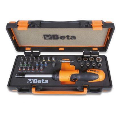 Beta 860/C38P 1 betéttartó irányváltós racsnival és nyéllel, 27 csavarbetét 8 hatlapú dugókulcs és 2 tartozék szivacsbetétes fémdobozban