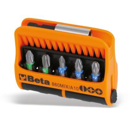 Beta 860MIX/A10 10 csavarhúzóbetét és mágneses betéttartó, műanyag dobozban