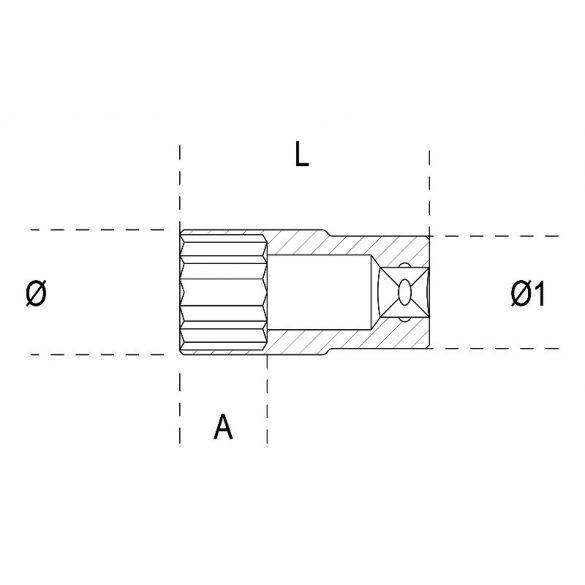 Beta 900AS-L 3/16 Hatlapú hosszú dugókulcs