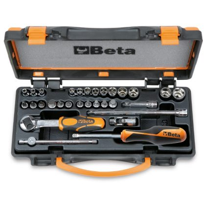 Beta 900/C24 13 hatlapú dugókulcs, 11 csavarhúzó-dugókulcs és 6 tartozék, fémdobozban
