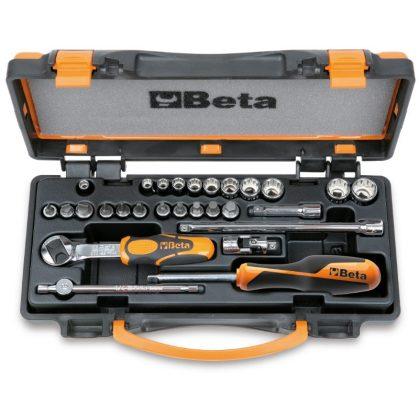 Beta 900MB/C28 11 tizenkétszögű dugókulcs, 11 csavarhúzó-dugókulcs és 6 tartozék fémdobozban