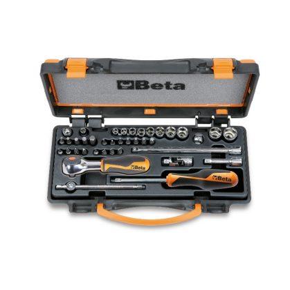 Beta 900/C11HR 11 hatlapfejű dugókulcs készlet, 20 csavarbehajtó betét és 7 tartozék kemény hőformázott tálcában, lemezdobozban