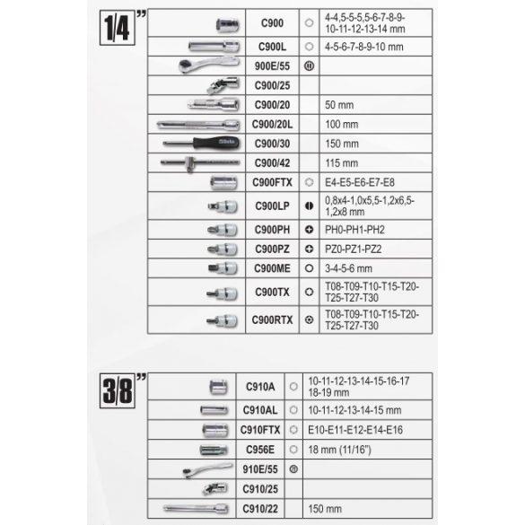 Beta 903E/C170 Beta EASY dugókulcs készlet, 170 részes