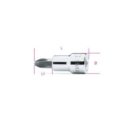 """Beta 910PH 3/8""""-os Csavarhúzó-dugókulcs Phillips®-csavarokhoz, krómozott, barnított fej"""