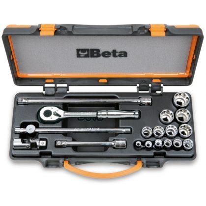 Beta 910AS/MBM-C18 13 db-os inch-es dugókulcs készlet 5 tartozékkal, fémdobozban