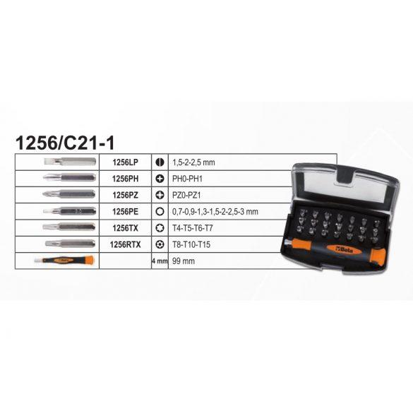 Beta 1256/C21-1 EASY 21 darabos csavarhúzó készlet mágneses betéttartóval, zsebben hordható tokban