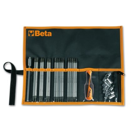 """Beta 1281BG/B28A 16 cserélhető csavarhúzószár, 9 dugókulcs 1/4"""", 2 tartozék és 1 betéttartó, műanyag tasakban"""