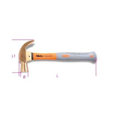 1375BA/PL 680 Gömbfejű körmös kalapács szikramentes műanyag nyéllel