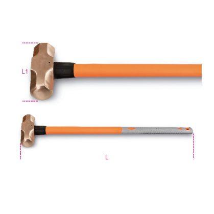 Beta 1381BA/PL Szikramentes hosszú nyelű ráverő kalapács, műanyag nyéllel