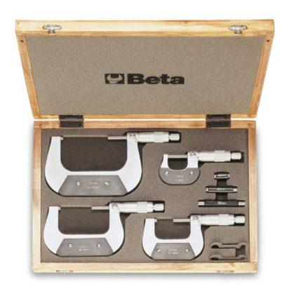 Beta 1658/C4 4-részes mikrométer készlet, fadobozban