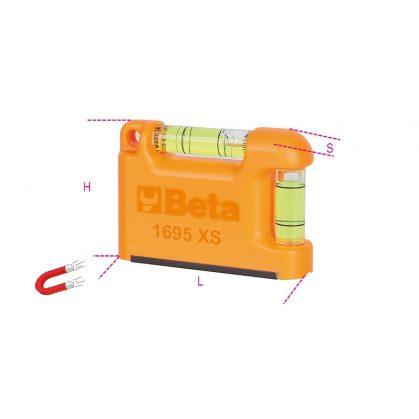 Beta 1695XS Zseb vízmérték V-formájú mérőfelülettel, mágneses, profilírozott alumínium 2 törésbiztos libella Pontosság: 1 mm/m