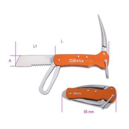 Beta 1778X hajós kés rozsdamentes acélból, alumínium nyéllel tokban