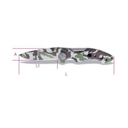 Beta 1778CM Behajtható pengéjű kés, terepszínű hőkezelt acél penge tokban