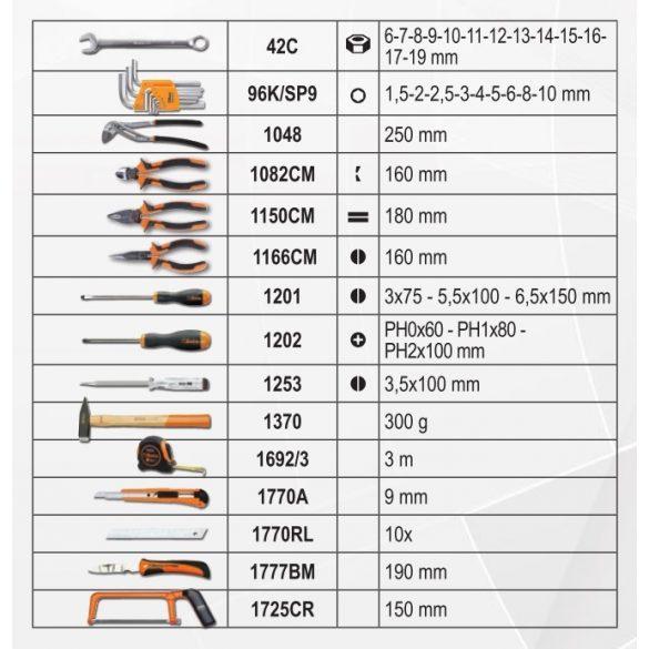 2054E/E-100 BETA EASY 100 darabos szerszámkészlet táskában, általános karbantartáshoz