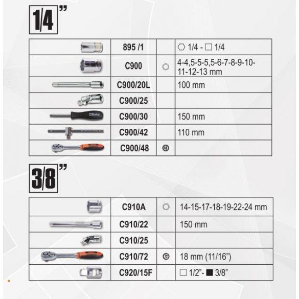 2054E/E-128 BETA EASY 128 darabos szerszámkészlet táskában, általános karbantartáshoz