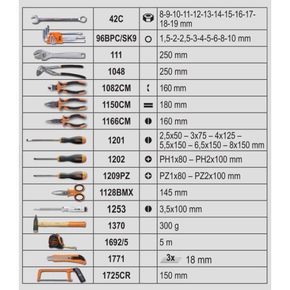 2056TE/E-20 BETA EASY Szerszámkocsi,163 darabos szerszámkészlet, általános karbantartáshoz