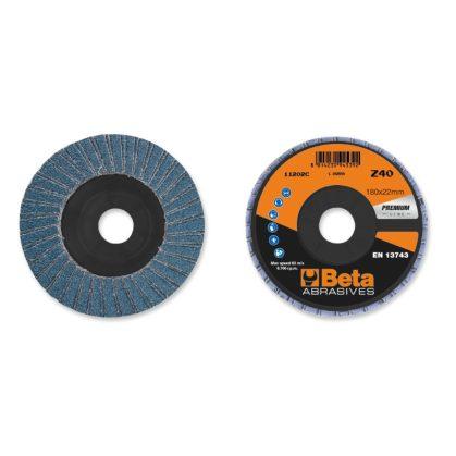Beta 11202C csiszolótárcsák cirkónium csiszolóvászonnal, műanyag csiszolótalp, dupla lamellás kivitel