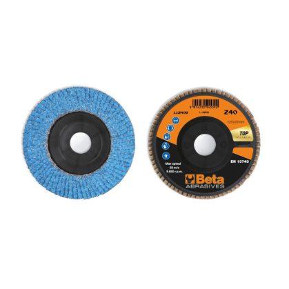Beta 11240B csiszolótárcsák kerámia bevonatú cirkónium csiszolóvászonnal, műanyag csiszolótalp, egylamellás kivitel